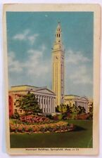 Municipal Building, Springfield, Mass 1947 Postcard / Stamp C34