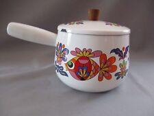 Casserole émaillée couvercle motif poisson oiseau fleur Vintage poêlon cafetière