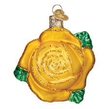 Old World Christmas Yellow Rose (36250)N Glass Ornament w/Owc Box
