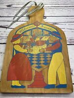Vintage FOLK ART Primitive PAINTING of Man Women Cornucopia Wood Cutting BOARD