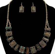 Western Cowgirl Black Coral Seed Beads Rectangle Card Necklace with Earrings