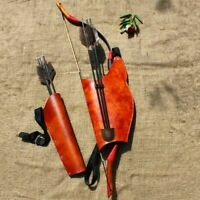 Recurve Bow Bag Arrows Holder Archery Quiver Arrow Shooting Hunting Bag Leather