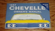 1967 Chevrolet Chevelle Owners Operators Manual 67 Chevy