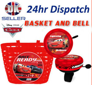 Disney CARS 3 Boy's Kids  Bike Cycle Shopping Front BASKET and BELL Ring Alarm