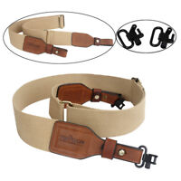 Tourbon Hunting Webbing Rifle/Shotgun Sling Belt & 2pc Gun Mounted Swivels Shoot