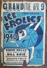VINTAGE 1940 FIGURE SKATING POSTER ICE FROLICS MT AIRY GRAND THEATRE NC BLUE IL