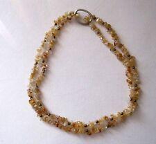 Alte Halskette Halbedelstein-Kette 88 cm mit Goldperlen 44+44cm 2-reihig zu trag