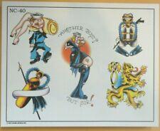 2002 Don Nolan Spaulding & Rogers Color Tattoo Flash Sheet NC-40 USN Navy