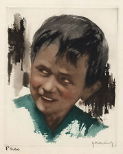 Hand Signed Roger HEBBELINCK Artist Proof Aquatint Etching CHILD PAEO Framed COA