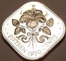 Bahamas 15 Cents, 1970 Rare Proof~23,000 Minted~Triangle Coin~Free Shipping