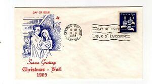 Canada 1965 5c Christmas #444p tagged  FDC Ginn B cachet unaddressed
