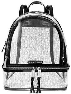 Michael Kors Rhea Zip Clear w/ Black Patent Trim Medium Size Backpack SEALED