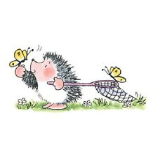 PENNY BLACK RUBBER STAMPS SWEET CATCH HEDGEHOG BUTTERFLY NET NEW wood STAMP
