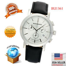 100% Authentic Burberry Men's Heritage Gent Silver Dial Chronograph Watch BU1361