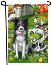BORDER COLLIE painting GARDEN FLAG Dog Art AUTUMN FALL puppy sheep