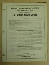 """Western Tool 18"""" Rotary Power Mower Assembly, Operating, Parts Manual 12000200"""
