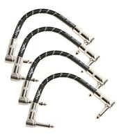 "4 New Fender Custom Shop Black Tweed 6"" inch Patch Cables! Right Angle FG6ILLB6"