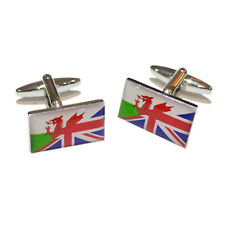 Union Jack Mixed with Welsh Flag Cufflinks in a Cufflink Box - X2BOCF140