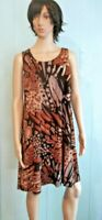Jostar Wrinkle Free Tank Dress Brown & BLACK Abstract Travel Wear No Iron  S-3X