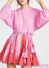 Rhode Womens Chic Rose Red Thin Tie Lantern Sleeve Pleated Beach Dress Holiday