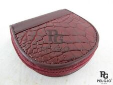 PELGIO Genuine Crocodile Skin Leather Zip Around Coin Purse Wallet Burgundy Red