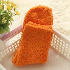 Winter Warm Thicken Women Coral Fleece Fluffy Candy Color Socks Solid Orange