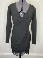 Nookie Black Dress With Tassels Size M EUC Formal Gown Races Cocktail Party