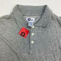 NWT Arizona Polo Shirt Mens 2XL XXL Gray Short Sleeve Cotton Blend Casual Polo