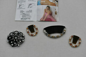 4 Scunci Bendini Clips Set Bend Slide Snap Diamonds Beaded Conair Hair Comb Pin