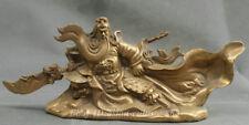 10.4 China Ancient Bronze Guangong Guan Gong Yu Warrior God Sword  Dragon Statue