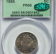 1885 KEY Liberty 5c PCGS PR 66 OGH CAC Proof Nickel old green holder VERY NICE!!