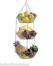 Kitchen Craft 3 Niveles Colgante Cromado Fruit & Vegetable cestas de almacenamiento