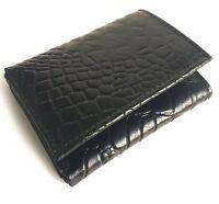 Black Croc Leather Mens Trifold Wallet Credit Card Center Flap Crocodile Cowboy