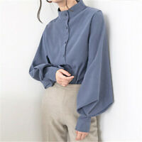 Lady Retro Shirt Stand Collar Single-breasted Lantern Sleeve Loose Casual Blouse