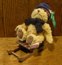 """Russ Berrie #4671-3 Sleds maroon/grey hat, 6.5"""" bear on sled From Retail Store"""