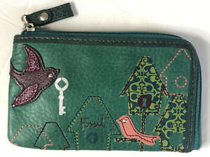"""Fossil Leather ID Coin Pouch Keychain Wallet Birds Applique Zipper Case 3"""" x 5"""""""