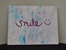 """""""smile"""" canvas, purple, blue, pink, wall hanging,decor, room, teen,home decor"""