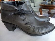 Rieker Rebecca Leather Pewter Ankle Boots Booties Zipper and Side Tie 8.5M / 39
