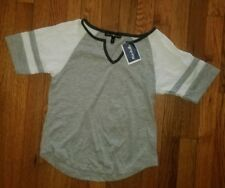 "NWT Derek Heart Gray 3/4"" Sleeve T-Shirt Size Small Gray Trim"