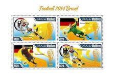 Maldives - 2014 Brazil Football Gotze Muller - 4 Stamp Sheet-MLD14706a