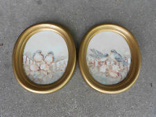2 Home Interior Oval Wall Plaques with Blue Birds