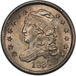 1834 Capped Bust Half Dime PCGS MS66 Bright White Gem Gold Shield & TrueView