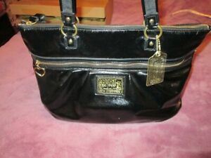 COACH Limited Edition POPPY Daisy LIQUID Black GLOSS Patent LEATHER Tote 20004