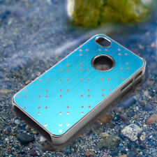 Blue Stylish Brushed Aluminum Chrome Protective Back Case Cover for iPhone 4 4S