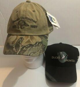 2 Ducks Unlimited Hats EST. 1937 Spring BBQ Tan/Mossy Oak and Black