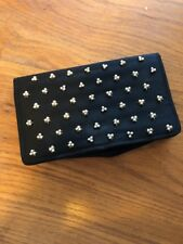 Vintage Black Satin Clutch Evening Purse Pearl Clusters Good Condition