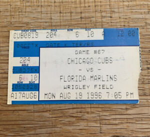 1996 Chicago Cubs v Florida Marlins Ticket Stub Wrigley Field 8/19/96