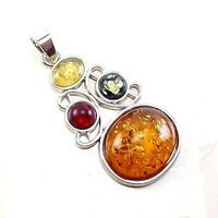 BALTIC AMBER GEMSTONE 925 STERLING SILVER PLATED PENDANT JEWELRY #SJPT-1005FX