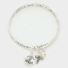 Nurse Serenity Prayer Bracelet Bangle RN Angel Wings Charms SILVER God Grant Me