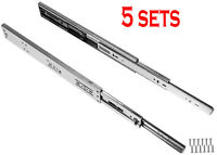 "Set of 5 Soft-Close Ball Bearing Drawer Slides Full Extension 12""-24"" 100lb"